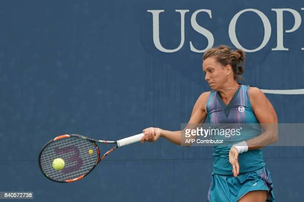 Czech Republic's Barbora Strycova returns the ball to Japan's Misaki Doi during their Qualifying Women's Singles match at the 2017 US Open Tennis...