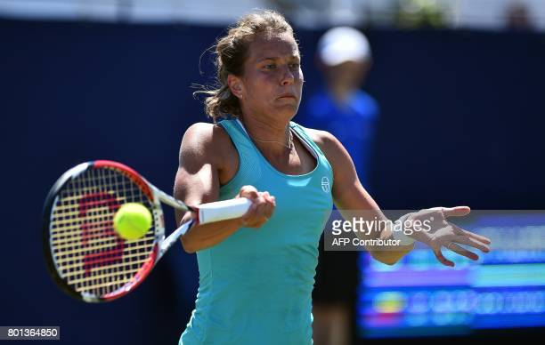 Czech Republic's Barbora Strycova returns to Canada's Eugenie Bouchard during their women's singles first round tennis match at the ATP Aegon...