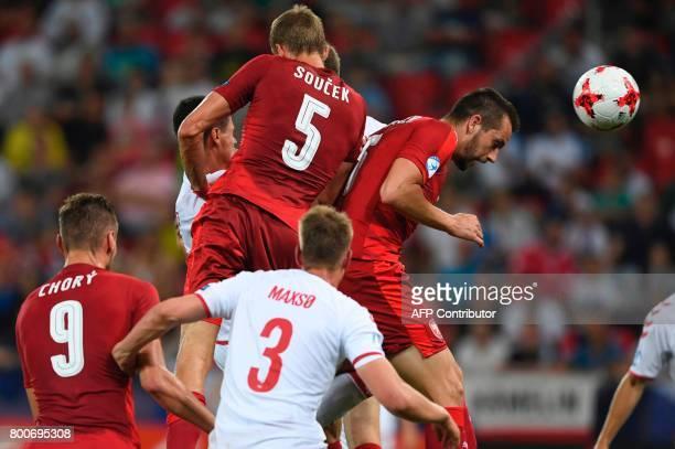 Czech Republic's defender Michael Luftner heads for the ball during the UEFA U21 European Championship Group C football match Czech Republic v...