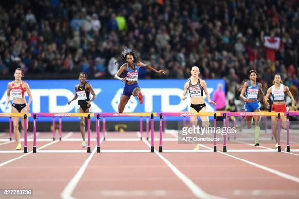 Czech Republic's Denisa Rosolova Jamaica's Rhonda Whyte US athlete Dalilah Muhammad Canada's Sage Watson Italy's Yadisleidis Pedroso and Panama's...