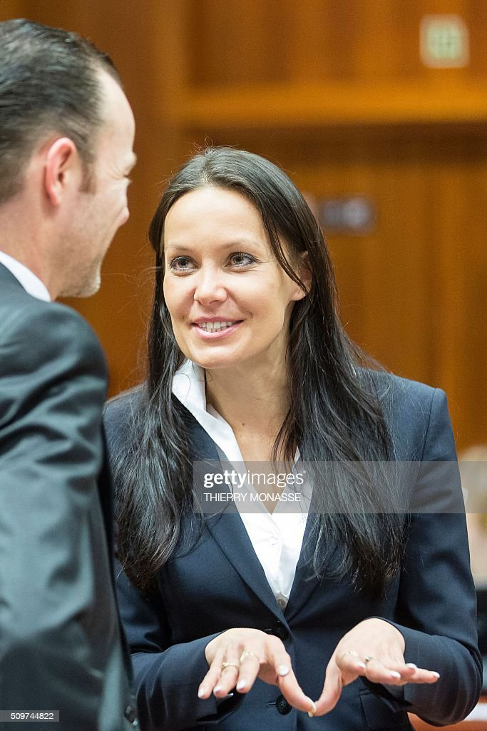 Czech Republic's Deputy Finance Minister, Lenka Juroskova (R) attends the European Union Eco-Finance Council meeting at the EU Council building in Brussels on February 12, 2016. AFP PHOTO / THIERRY MONASSE / AFP / THIERRY MONASSE