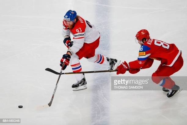 Czech Republic's forward Jakub Voracek vies with Russia's forward Nikita Kucherov during the IIHF Men's World Championship quarter final ice hockey...