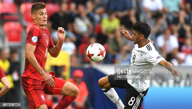 Czech Republic's forward Patrick Schick and Germany's midfielder Mahmoud Dahoud vie for the ball during the UEFA U21 European Championship Group C...
