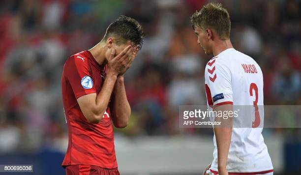 Czech Republic's forward Patrick Schick reacts as he faces Denmark's defender Andreas Maxsoe during the UEFA U21 European Championship Group C...