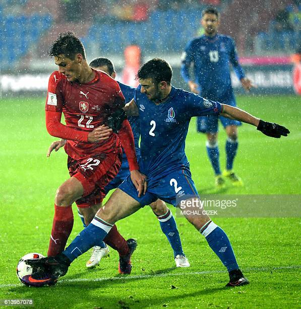 Czech Republic's forward Patrik Schick fights for a ball with Azerbaijan's midfielder Gara Garayev during the WC 2018 football qualification match...