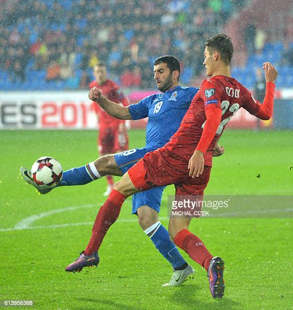 Czech Republic's forward Patrik Schick fights for a ball with Azerbaijan's midfielder Ramil Sheydaev during the WC 2018 football qualification match...