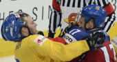 Czech Republic's forward Vladimir Sobotka fights with Sweden's defender Niclas Andersen during a bronze medal game Czech Republic vs Sweden of the...