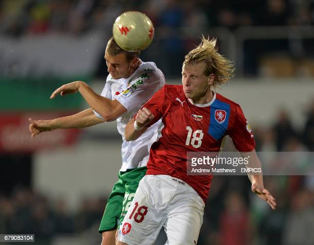 Czech Republic's Frantisek Rajtoral and Bulgaria's Ventsislav Hristov battle for the ball