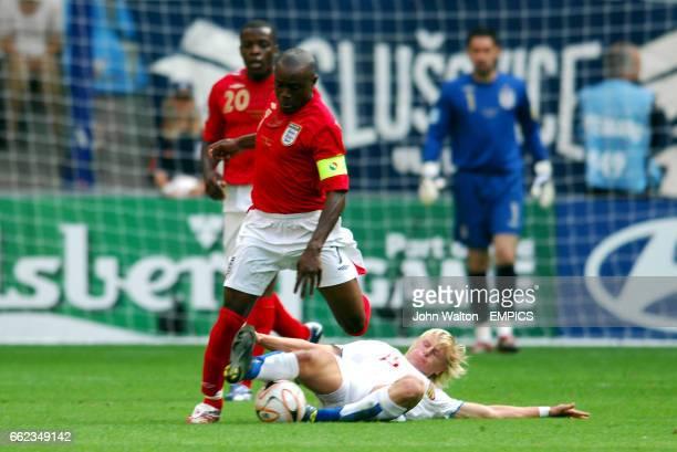 Czech Republic's Frantisek Rajtoral tackle's England's Nigel ReoCoker
