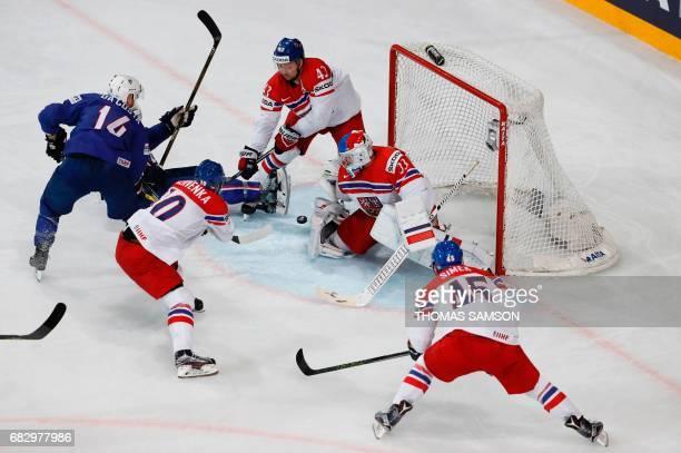 Czech Republic's goalkeeper Pavel Francouz stops a goal during the IIHF Men's World Championship group B ice hockey match between France and Czech...