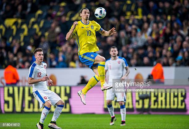 Czech Republics Jakub Rada and Swedens Zlatan Ibrahimovic during the international friendly between Sweden and Czech Republic at Friends Arena on...