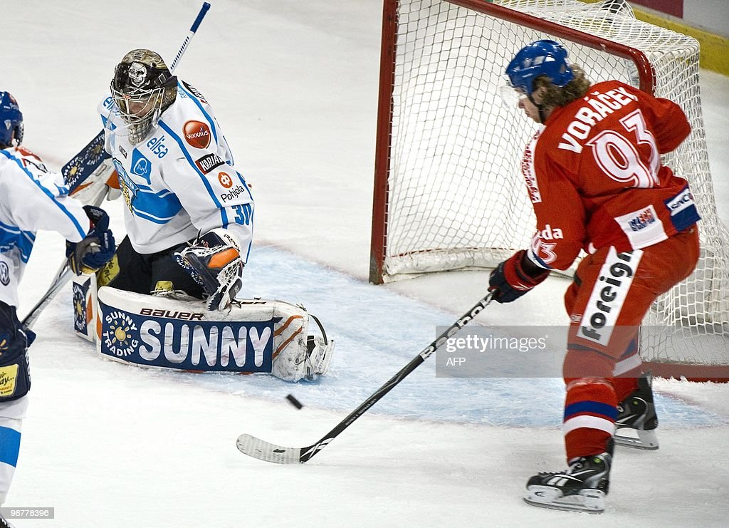 Czech Republic's Jakub Voracek is about to score 01 behind Finland's goalie Harri Sateri during the LG Hockey Games at Stockholm Globe Arena on May 1...