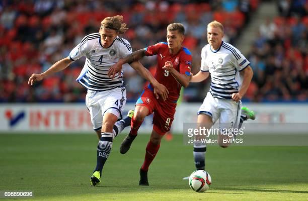 Czech Republic's Jan Kliment battles for possession of the ball with Denmark's Jannik Vestergaard