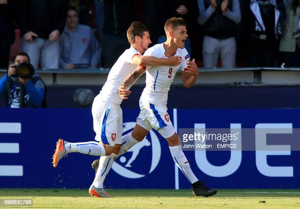 Czech Republic's Jan Kliment celebrates his side's third goal and his hattrick with teammate Michal Travnik