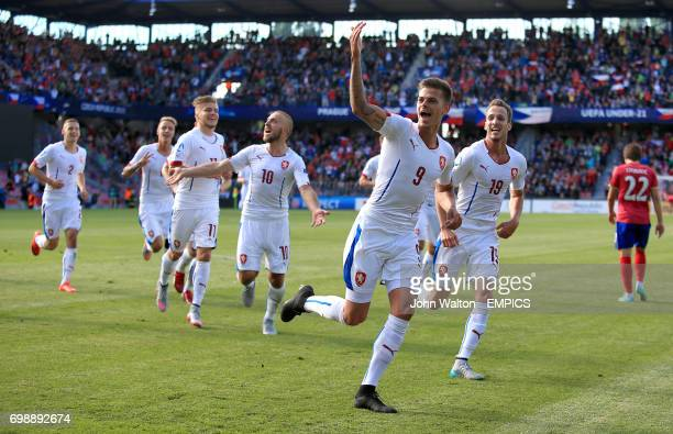 Czech Republic's Jan Kliment celebrates scoring his side's second goal