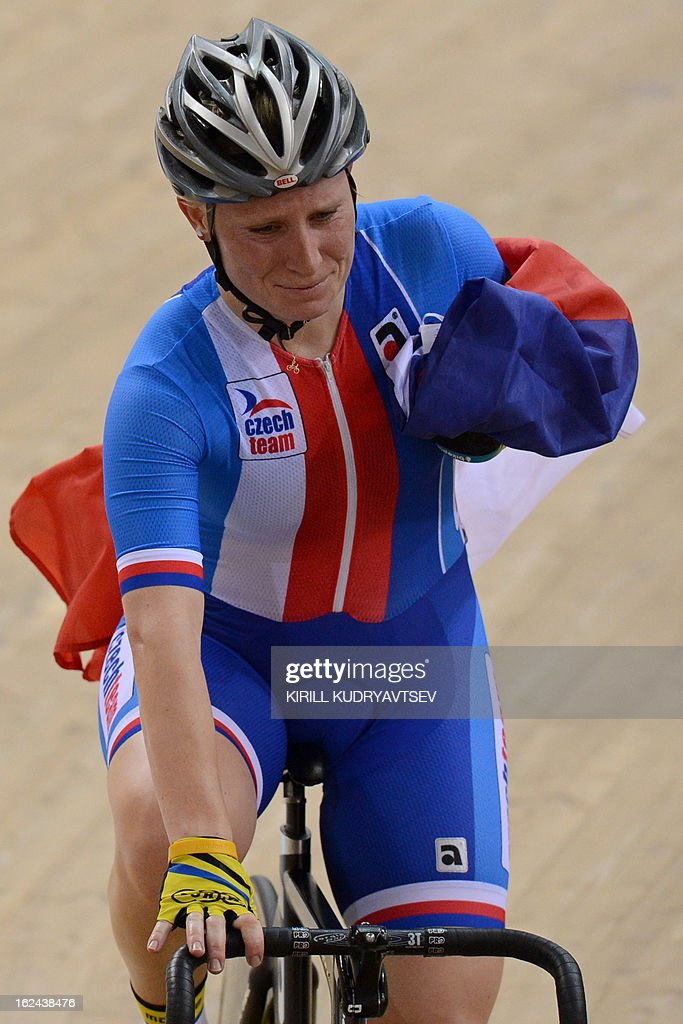 Czech Republic's Jarmila Machacova celebrates her gold medal in UCI Track Cycling World Championships Women's 25 km Point Race in Belarus' capital of Minsk on February 23, 2013.