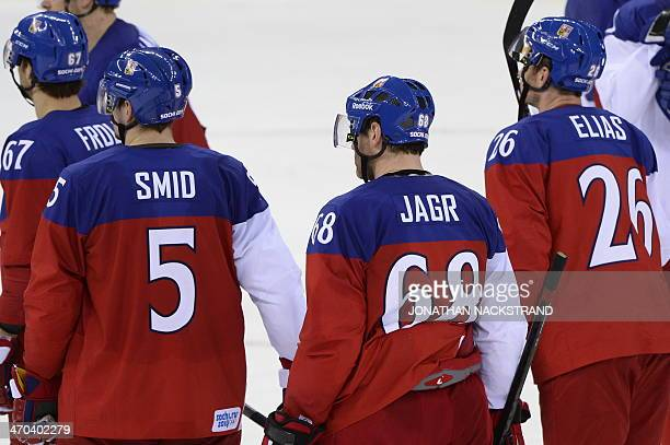 Czech Republic's Jaromir Jagr reacts after the Men's Ice Hockey Quarterfinals match between the USA and the Czech Republic at the Shayba Arena during...