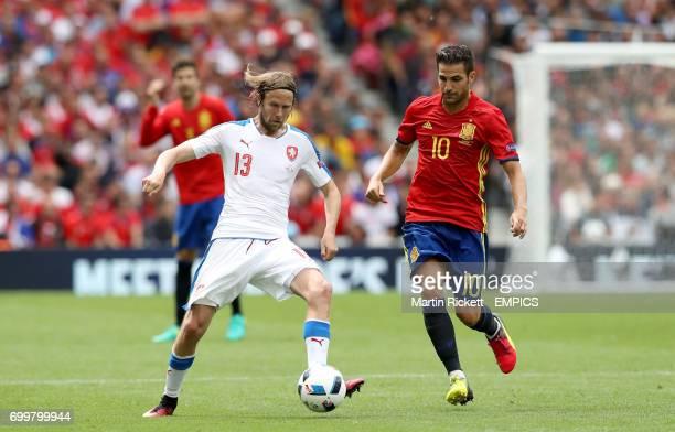 Czech Republic's Jaroslav Plasil and Spain's Cesc Fabregas battle for the ball