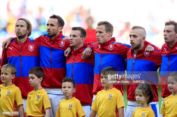 Czech Republic's Jaroslav Plasil Tomas Sivok Vladimir Darida David Limbersky and Jiri Skalak during the national anthems