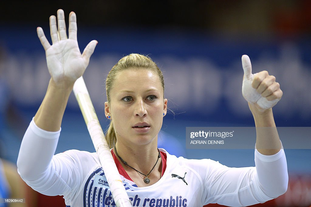 Czech Republic's Jirina Svobodova gestures as she warms up before the women's pole vault qualification at the European Indoor Championships in Gothenburg, Sweden, on March 1, 2013.
