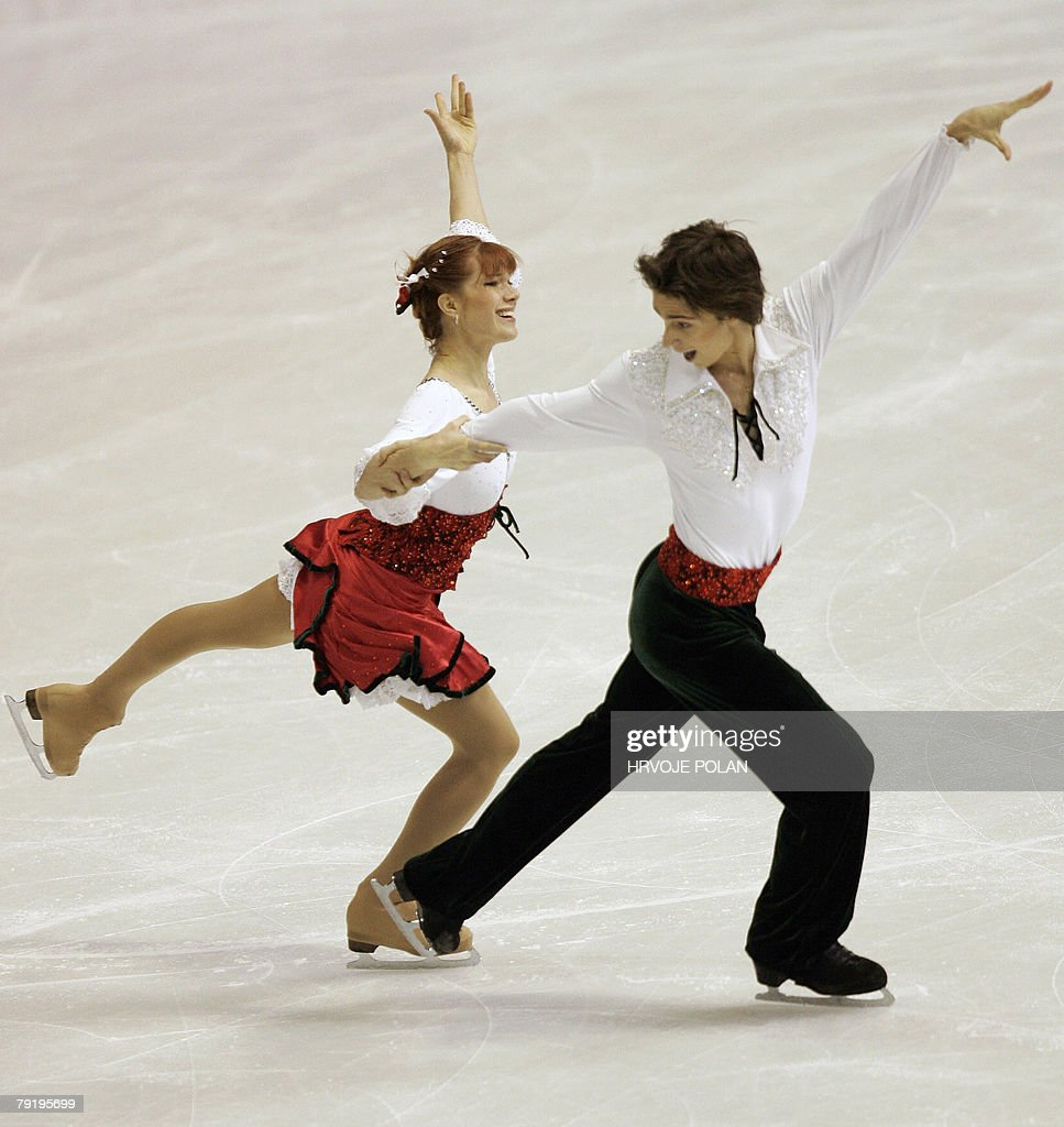 Czech Republic's Kamila Hajkova and David Vincour perform their original dance at the Dom Sportova Arena in Zagreb, 24 January 2008, during the European Figure Skating Championships 2008.