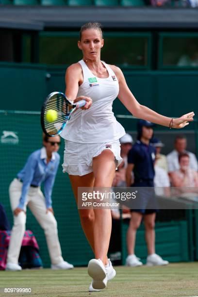 Czech Republic's Karolina Pliskova returns against Slovakia Magdalena Rybarikova during their women's singles second round match on the fourth day of...
