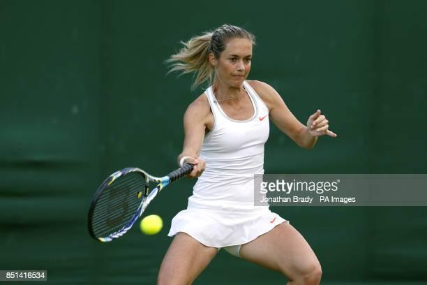 Czech Republic's Klara Zakopalova in action against Slovakia's Daniela Hantuchova