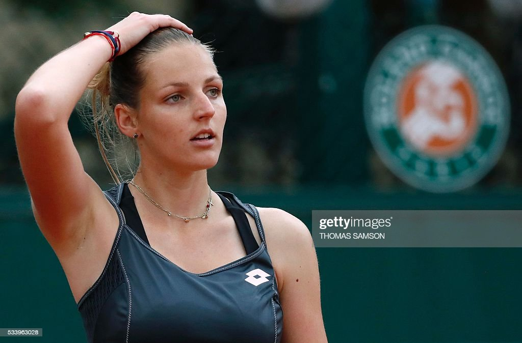 Czech Republic's Kristyna Pliskova reacts during her match against Brazil's Teliana Pereira on their women's first round match at the Roland Garros 2016 French Tennis Open in Paris on May 24, 2016. / AFP / Thomas SAMSON