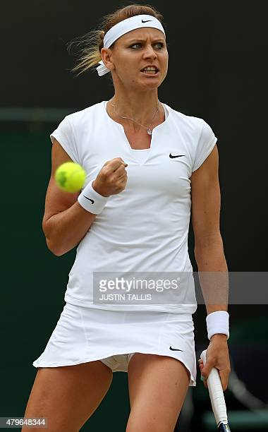 Czech Republic's Lucie Safarova reacts after winning a point against US player Coco Vandeweghe during their women's singles fourth round match on day...