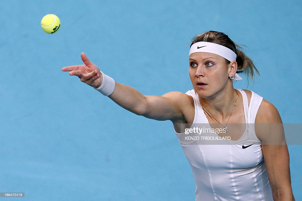 Czech Republic's Lucie Safarova serves to opponent Netherland's Kiki Bertens during the 21st edition of the Paris WTA Open on February 1, 2013.