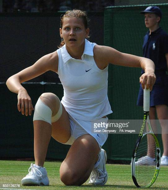 Czech Republic's Lucie Safarova shows her dejection during her match against Serbia's Jelena Jankovic during The All England Lawn Tennis Championship...