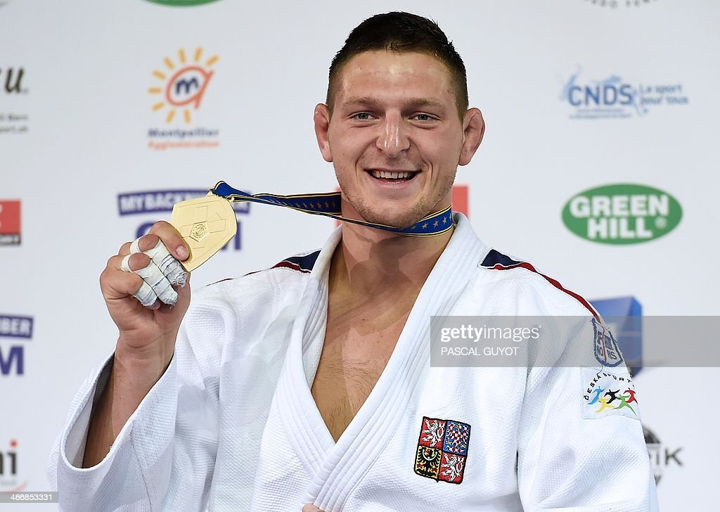 Czech Republic's <a gi-track='captionPersonalityLinkClicked' href=/galleries/search?phrase=Lukas+Krpalek&family=editorial&specificpeople=6589582 ng-click='$event.stopPropagation()'>Lukas Krpalek</a> celebrates on the podium after the final of the Judo European Championships in the men's -100kg category, in Montpellier, southern France, on April 26, 2014. Krpalek won the contest and is the new European Judo Champion in his category.