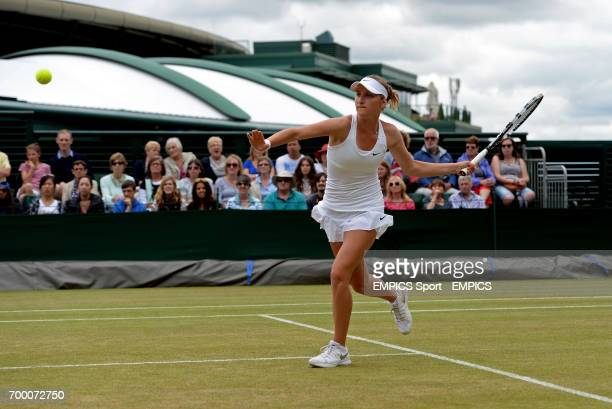 Czech Republic's Marketa Vondrousova in action against Latvia's Jelena Ostapenko in the girls singles