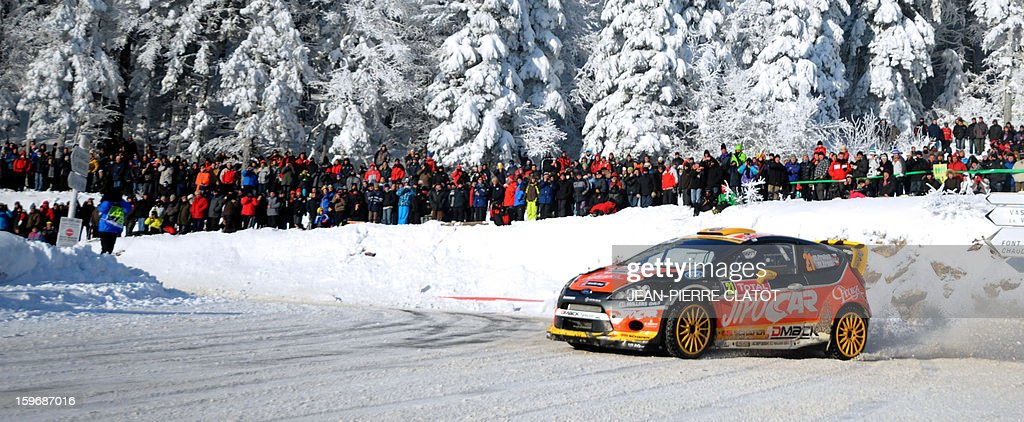 Czech Republic's Martin Prokop steers his Ford Fiesta RS on January 18, 2013 on the Col de la Machine, southeastern France, during the 11th stage of the 81st Monte-Carlo Rally between Saint-Jean-en-Royans and La Cime du Mas. AFP PHOTO / Jean Pierre Clatot