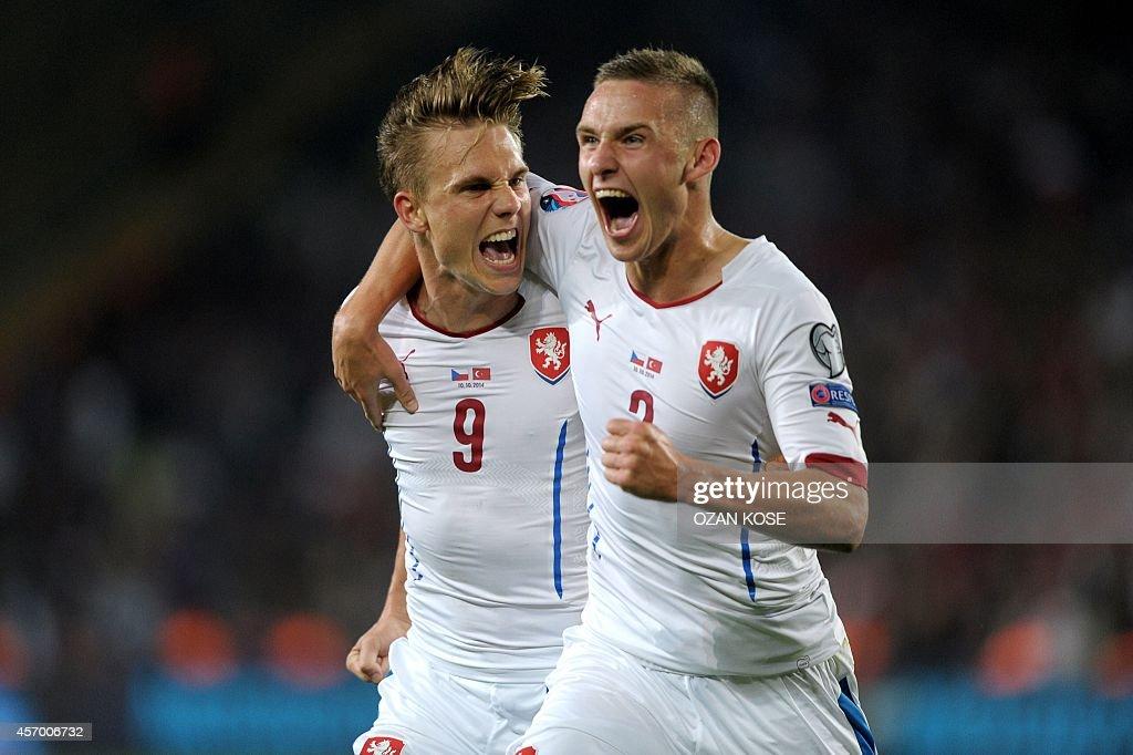 Czech Republic's midfielder Borek Dockal celebrates with Czech Republic's defender Pavel Kaderabek after scoring a goal during the UEFA Euro 2016...