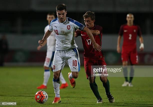 Czech RepublicÕs midfielder Michal Travnik with PortugalÕs midfielder Francisco Geraldes in action during U21 Friendly match between Portugal and...