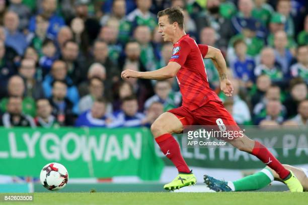 Czech Republic's midfielder Vladimir Darida runs with the ball during the World Cup 2018 qualification football match between Northern Ireland and...