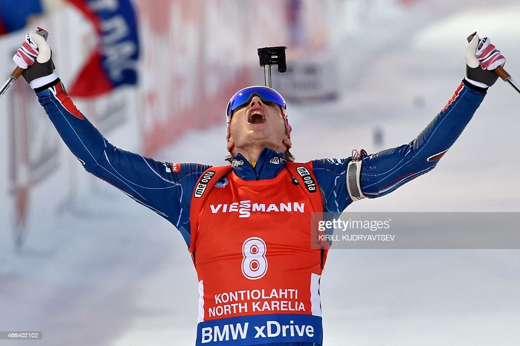 Czech Republic's Ondrej Moravec reacts after the Men 15 km Mass Start at the IBU Biathlon World Championship in Kontiolahti, Finland on March 15, 2015. Slovenia's Jakov Fak won the competition, Czech Republic's Ondrej Moravec placed second and Norway's Tarjei Boe placed third.