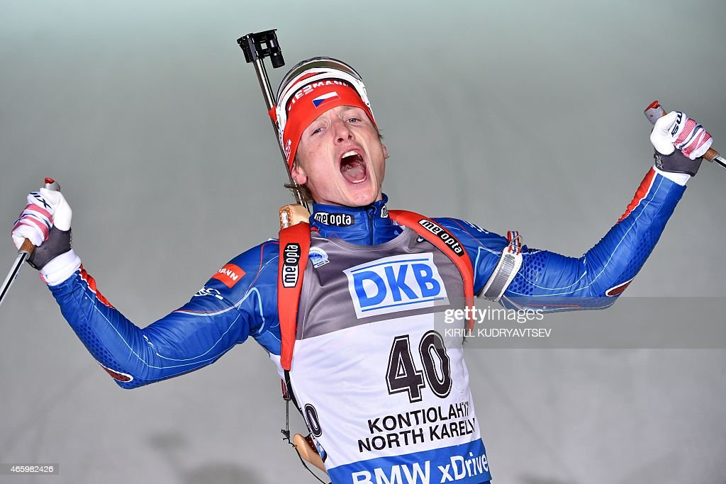 Czech Republic's Ondrej Moravec reacts after the men's 20 km Individual at the IBU Biathlon World Championship in Kontiolahti, Finland on March 12. France's Martin Fourcade won the competition, Norway's Emil Hegle Svendsen placed second and Czech Republic's Ondrej Moravec placed third.