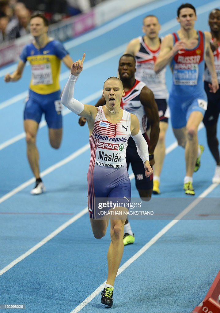 Czech Republic's Pavel Maslak celebrates winning the men's 400m final at the European Indoor Athletics Championships in Gothenburg, Sweden, on March 3, 2013.