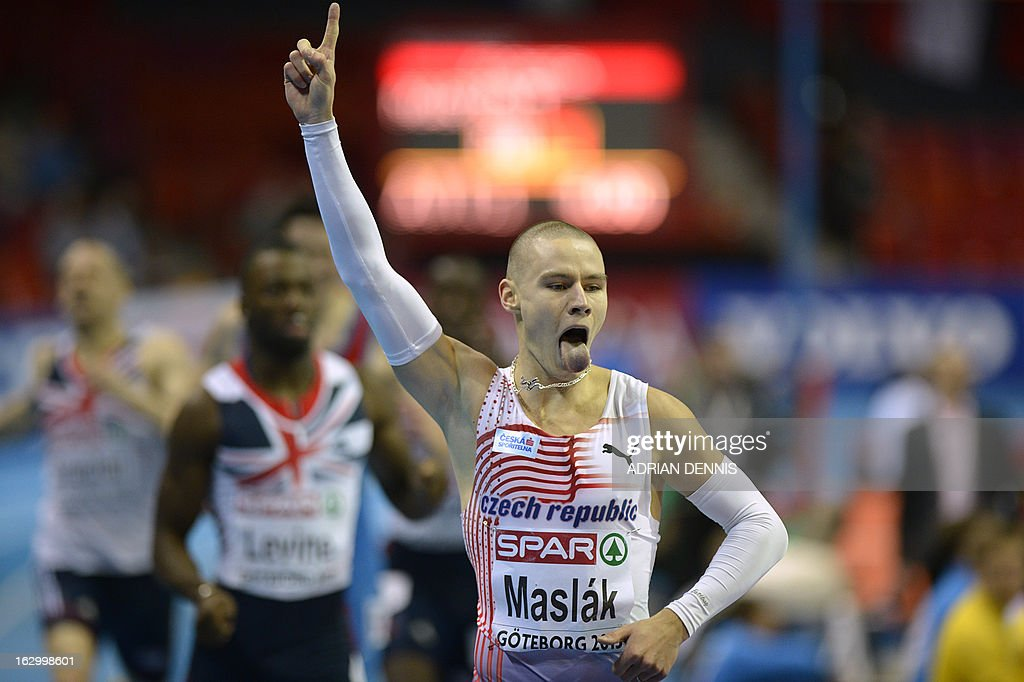 Czech Republic's Pavel Maslak celebrates winning the men's 400m final at the European Indoor Athletics Championships in Gothenburg, Sweden, on March 3, 2013. AFP PHOTO / ADRIAN DENNIS