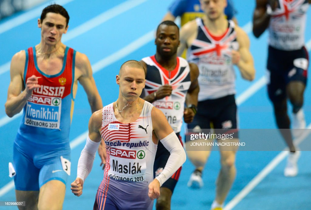Czech Republic's Pavel Maslak (front) competes to win the men's 400m final at the European Indoor Athletics Championships in Gothenburg, Sweden, on March 3, 2013.