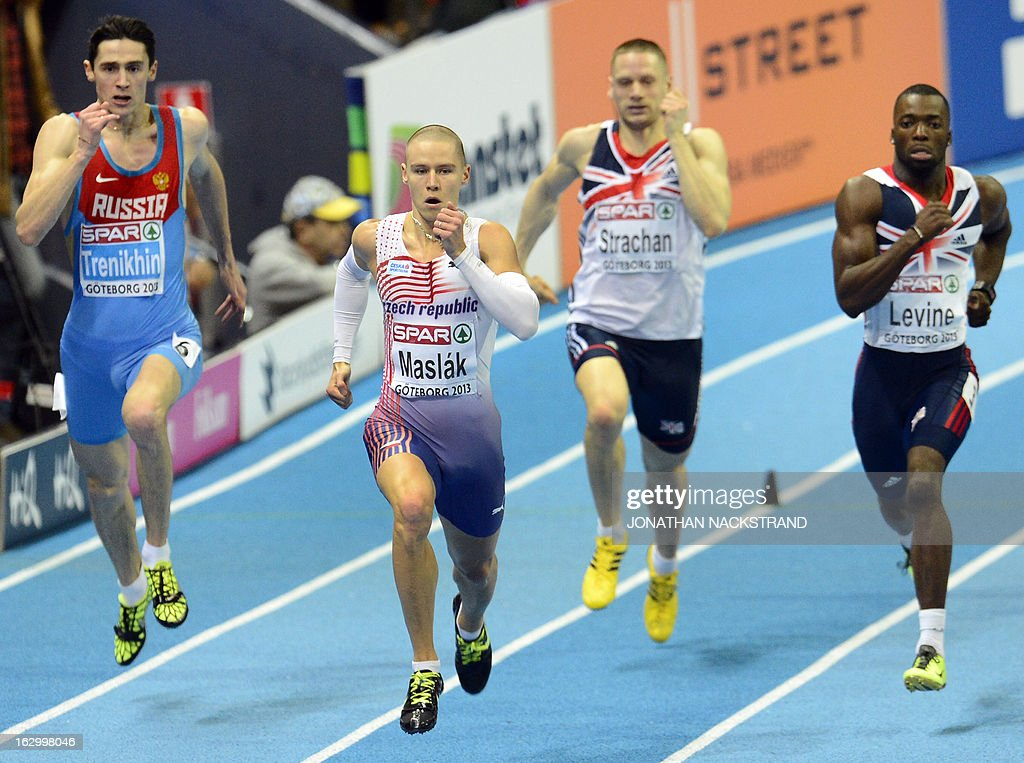 Czech Republic's Pavel Maslak (2nd L) competes to win the men's 400m final at the European Indoor Athletics Championships in Gothenburg, Sweden, on March 3, 2013. AFP PHOTO / JONATHAN NACKSTRAND