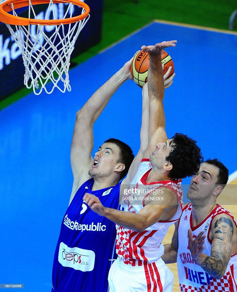 Czech Republic's Pavel Pumprla vies with Croatia's Roko Leni Ukic and Damir Markota during the Eurobasket 2013 championships qualifying basketball...
