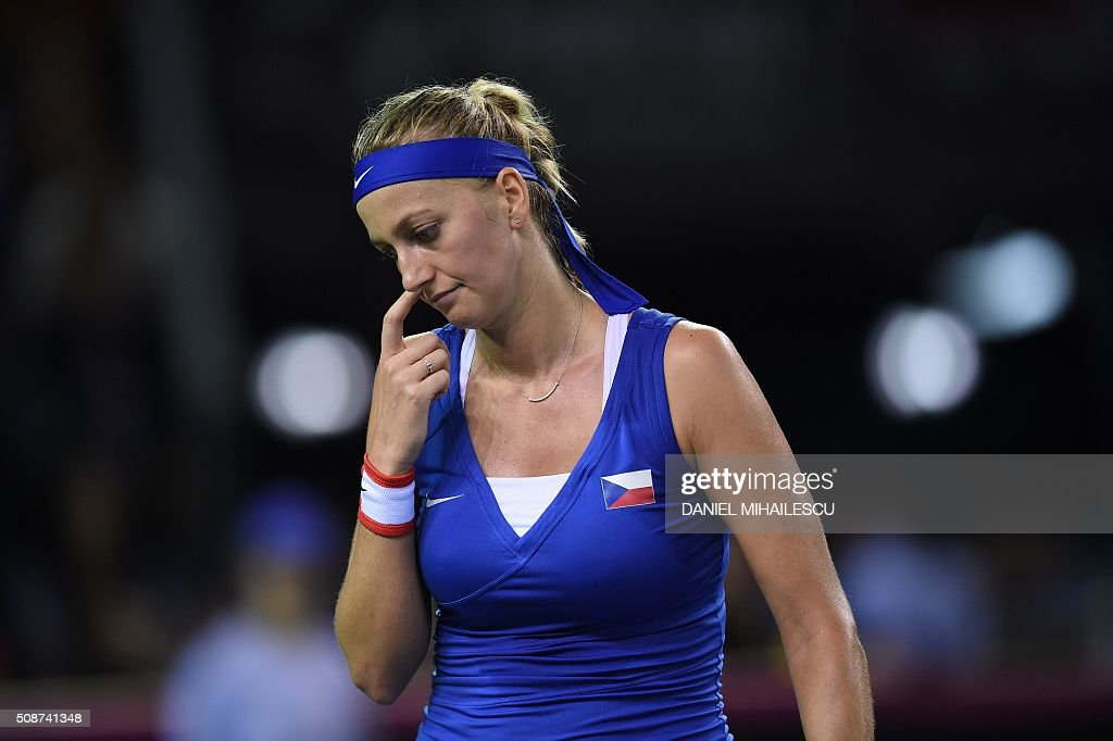 Czech Republic's Petra Klitova reacts during FedCup World Cup first round tennis match against Romania's Monica Niculescu at 'Sala Polivalenta Cluj Napoca' hall in Cluj Napoca city February 6, 2015. / AFP / DANIEL MIHAILESCU