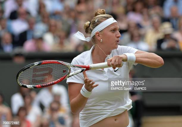 Czech Republic's Petra Kvitova in action against Canada's Eugenie Bouchard in their Ladies' Singles Final