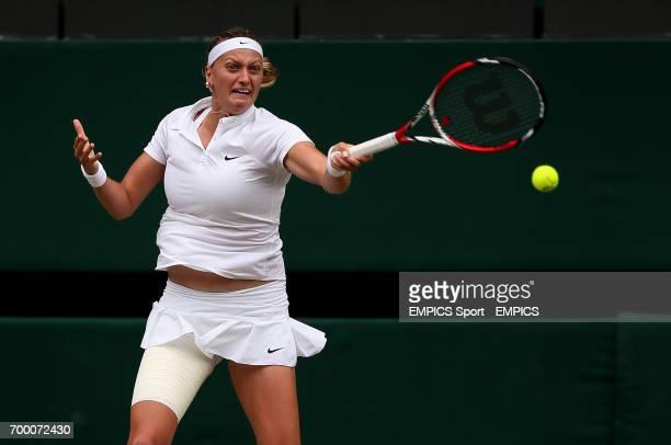 Czech Republic's Petra Kvitova in action against Canada's Eugenie Bouchard