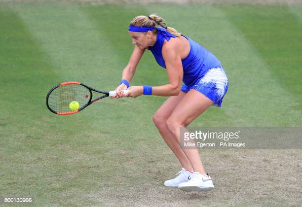 Czech Republic's Petra Kvitova in action against France's Kristina Mladenovic during day five of the 2017 AEGON Classic at Edgbaston Priory Birmingham