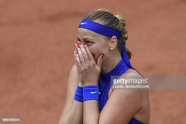 Czech Republic's Petra Kvitova reacts after winning her qualification round match against US Julia Boserup at the Roland Garros 2017 French Tennis...