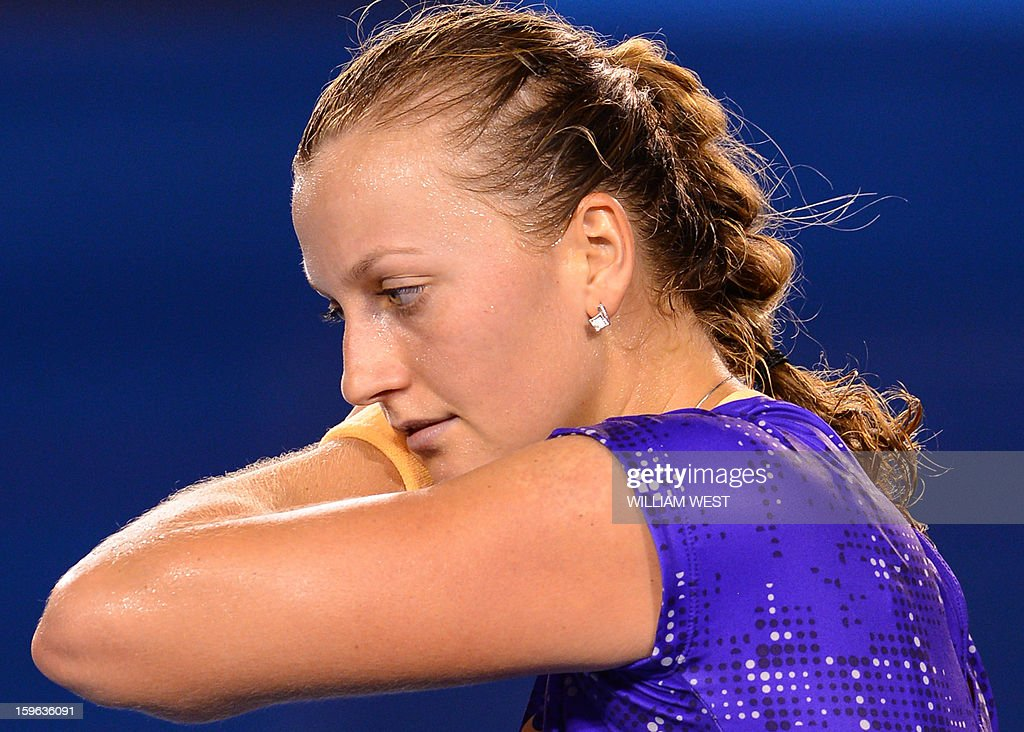 Czech Republic's Petra Kvitova reacts during her women's singles match against Laura Robson of Britain on the fourth day of the Australian Open tennis tournament in Melbourne on January 17, 2013.